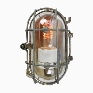 Mid-Century Vintage Industrial Cast Iron and Clear Glass Wall Lamps