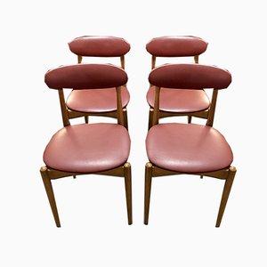 Italienische Mid-Century Teak Esszimmerstühle, 1960er, 4er Set