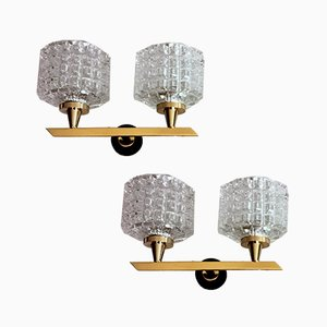 Brass and Half Crystal Sconces in the Style of Arlus Maison, 1960s, Set of 2