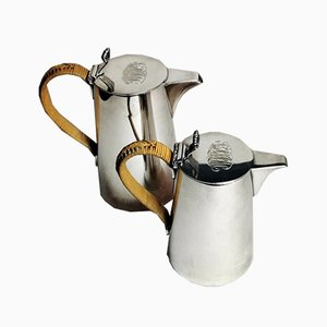 Art Deco Silver-Plated Breakfast Jugs with Raffia Handles from Gorham Manyfacturing Company, 1913, Set of 2