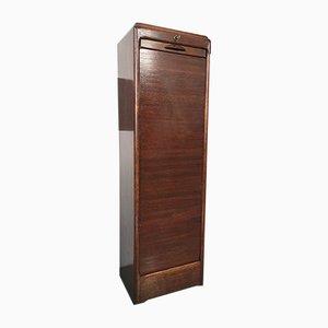 Vintage Italian Dark Wood Tambour Cabinet, 1950s