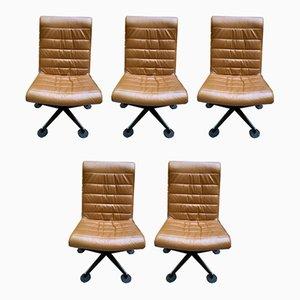 Braune Vintage Sessel, 1980er, 5er Set