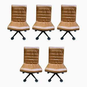 Vintage Brown Lounge Chairs, 1980s, Set of 5