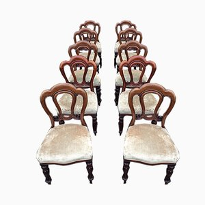 Victorian Mahogany Dining Chairs, Set of 10