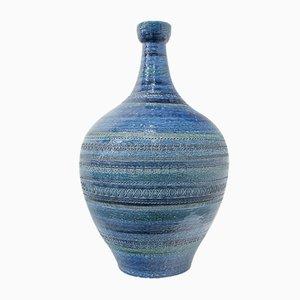 Italian Blue Ceramic Vase by Aldo Londi, 1960s