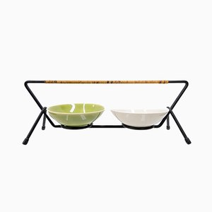 Metal Serving Tray with Two Eslau Stoneware Bowls from Zanesville Stoneware Company, 1958