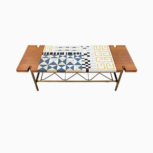 Mosaic Tile and Teak Coffee Table from Richard Hohenberg, 1958