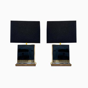Black Lacquered Table Lamps by Jean Claude Mahey, 1970s, Set of 2