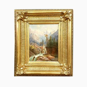Framed 19th Century Swiss Oil Painting of Torrent in the Mountains with Views of the Alps