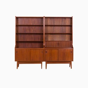 2-Section Bookcase with Secretaire in Teak by Johannes Sorth for Bornholm, 1960s