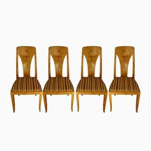 Antique Art Nouveau Dining Chairs, Set of 4