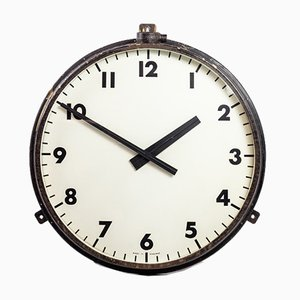 """Large Industrial Black Factory Railway Wall Clock from Gent""""s of Leicester, 1940s"""