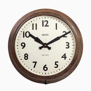 Grande Horloge Murale Noire Industrielle de Smiths, 1950s