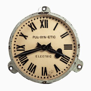Orologio industriale PUL-SYN-ETIC industriale in ghisa di Gents of Leicester, anni '20