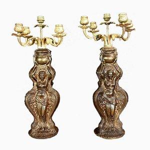 Candelabros antiguos de bronce dorado, 1850. Juego de 2