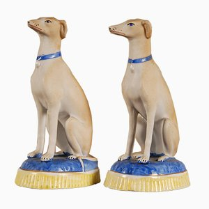 French 19th Century Porcelain Greyhound Dogs, Set of 2