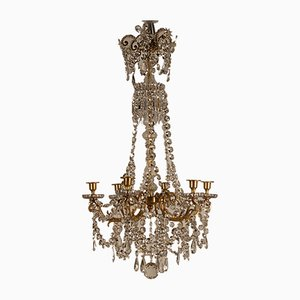 Antique French Victorian Ormolu Bronze Baccarat Crystal Beaded Chandelier