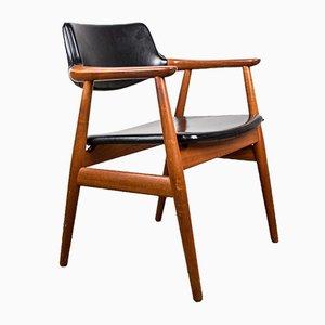 Danish Teak & Black Leatherette Model 43 Desk Chair by Erik Kirkegaard for Høng Stolefabrik, 1960s