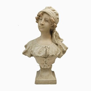 French Art Nouveau Bust Young Girl