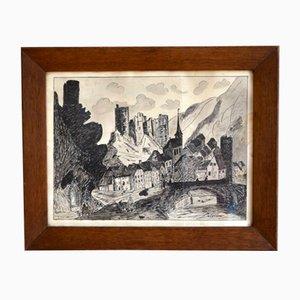 Tusche Landschaft, 1940er