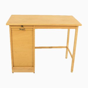 Mid-Century Solid Oak and Beech Shutter Desk, 1950s