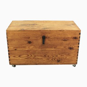 Antique Solid Fir Wood Chest, 1920