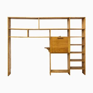 Vintage French Mid-Century Bookcase with Folding Desk