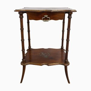 French Painted Side Table in Faux Bamboo with One-Drawer, Late 19th Century