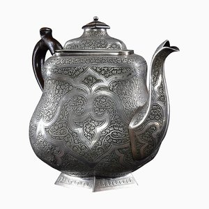 Large Traditional Iranian Engraved Silver Teapot, 1950s
