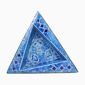 20th Century Italian Ceramic Triangular Ashtray, 1970s