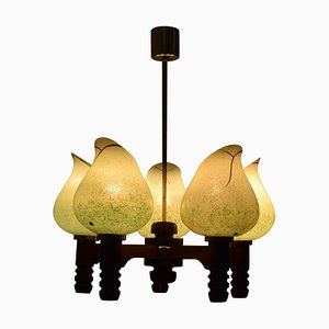 Mid-Century Wood Chandelier, 1970s