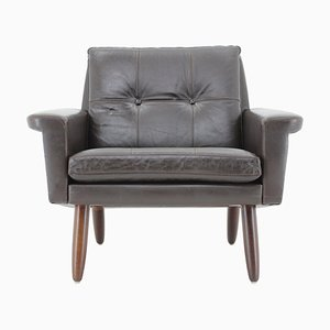 Danish Leather Lounge Chair, 1970s