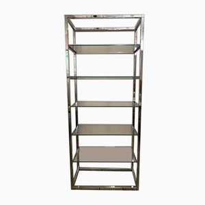 Belgium Chrome & Clear Glass Shelving Unit, 1970s