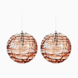 Pink Murano Glass Pendant Lights, Venini Style 1960s, Set of 2