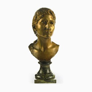 19th Century Gold Bronze Bust by Antonin Carlès