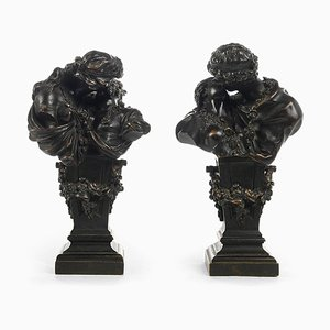 19th Century Bronze The Kiss Sculptures from E-H Delasalle, Set of 2