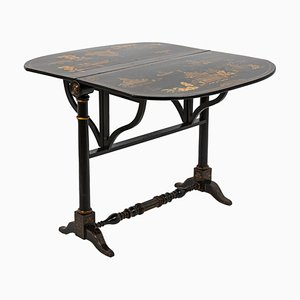 19th Century Chinese Black Lacquered Wood Leaf Table
