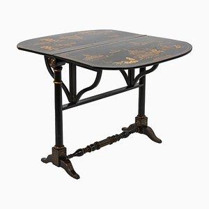 Chinesischer Schwarz Lackierter Holzblatt Tisch, 19. Jh