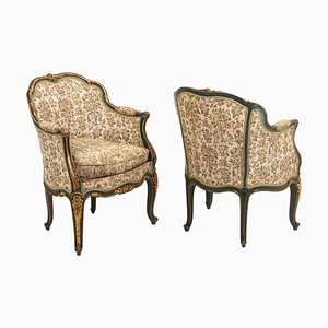 Louis XV Style Green Lacquer and Gilt Wood Armchairs, 1880, Set of 2