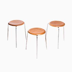 """Tabourets """"Dot"""" Vintage en Teck par Arne Jacobsen pour Fritz Hansen, Set de 3"""