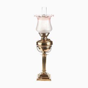 Antike viktorianische Messing Öllampe mit geriffelter Säule