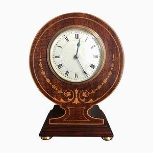 Antique Edwardian Mahogany Inlaid Desk Mantle Clock
