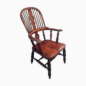 Large Antique Victorian Hoop Back Broad Arm Windsor Chair
