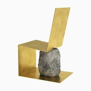 Handgearbeiteter Stuhl aus Gebürstetem Messing & Stein von Batten und Kamp