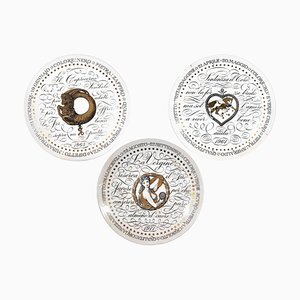 Earth Signs Zodiac Plates by Piero Fornasetti, 1965, Set of 3
