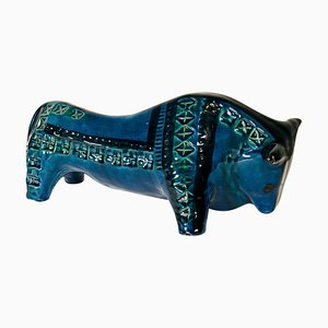 Bull from Rimini Blue Series by Aldo Londi for Bitossi, 1965