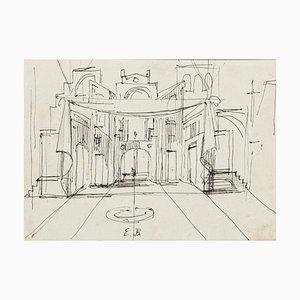 Eugène Berman, Theaterszene, Mitte 20. Jahrhundert, Tintenzeichnung