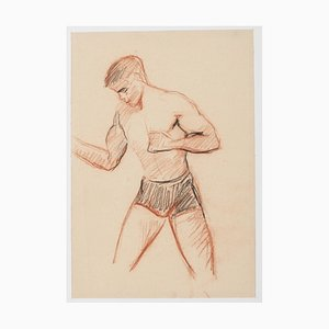 Adrienne Jouclard, Boxer, 1950s, Original Drawing in Pencil and Pastel