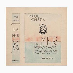 Paul Chack, La Mer (the Sea), Original Aquarell und China Tinte