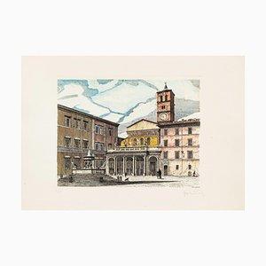 Giuseppe Malandrino, Roma Santa Maria in Trastevere, 1970s, Original Etching